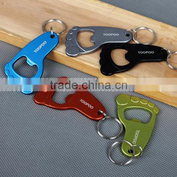 Cheap beer promotion cute Aluminum alloy footprint beer bottle opener keychain keyring
