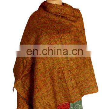 Reversible Handmade Re-cycled Silk Scarf / Stole Multicolor Multiuse Unique Handwoven Kantha Work Reversib Silk Sari Scarf Shawl