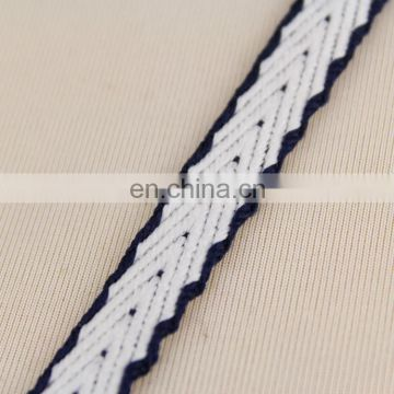 Hot selling navy and white embroidered ribbons RB0383