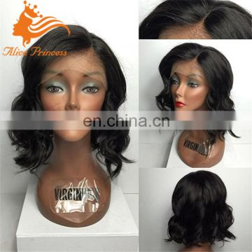 remy brazilian human hair short lace wigs 10 inches body wave full lace wig short wavy bob wigs