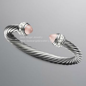 Sterling Silver 7mm Cable Classics Bracelet Pink Chalcedony Cuff Bracelet