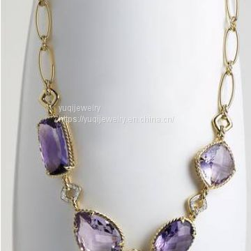 Gold Plated Jewelry Single Row Amethyst Chatelaine Necklace(N-036)
