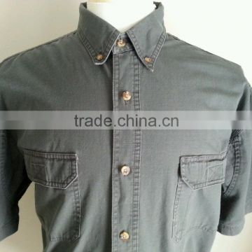 100% cotton ribstop botton-down collar shirt mens short sleeve work shirt                                                                         Quality Choice
