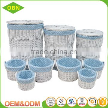 Wholesale custom high quality handmade white durable wicker metal fabric laundry basket