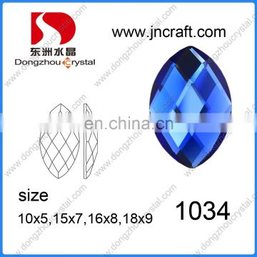 DZ-1034 navette shape flat back rhinestone embellishments for clothes