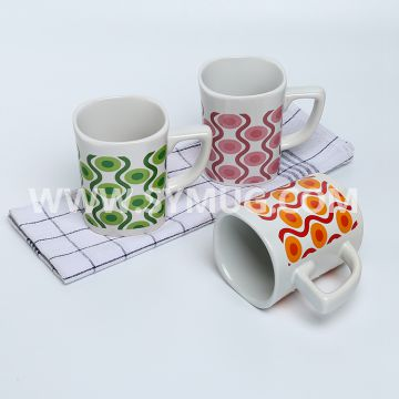 9 oz white square ceramic mug with printing