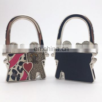 Wholesale love/couple foldable table bag purse hanger with crystal