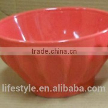 14cm red stoneware bowl with rib