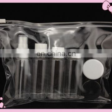 Top quality PET clear cylinder plastic cosmetic bottle 250ml with pump spray and lotion pump