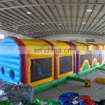 2017 commercial 60ft adults and kids assault courses crazy inflatable obstacle course for sale