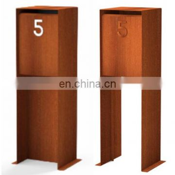 Customized free standing letter style rustproof corten steel city mailbox