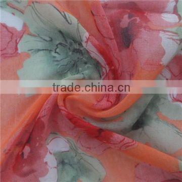 Green and Red Flower Printed Viscose Scarf