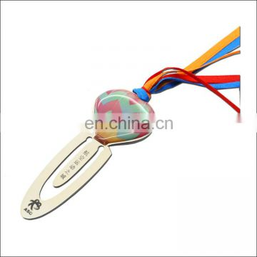 Glue sticker color ribbons tassel brief paragraph metal customized gift promotional bookmark