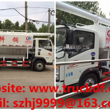 Factory sale good price SINO TRUK HOWO 4*2 LHDZ 120hp diesel 12m3 5tons poultry feed delivery truck