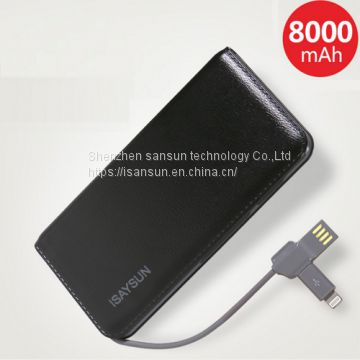 power charger usb power bank 8000 mah power bank external battery for iphone