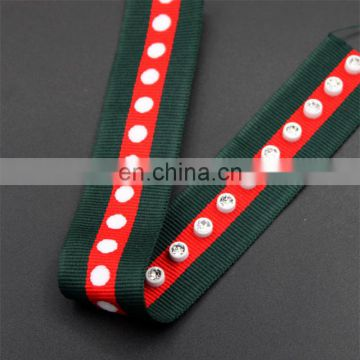 Fancy 2.5cm width striped grosgrain ribbon polyester and rhinestone trim for bag and clothing