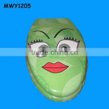 Green cartoon sexy lips Ceramic Toilet Seat Cover