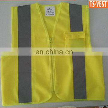 2017 fluorescent yellow cheap safety reflective kid vest