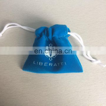 Blue color good feeling string white logo velvet pouch bag,custom velvet drawstring pouch bag,custom velvet jewelry bag