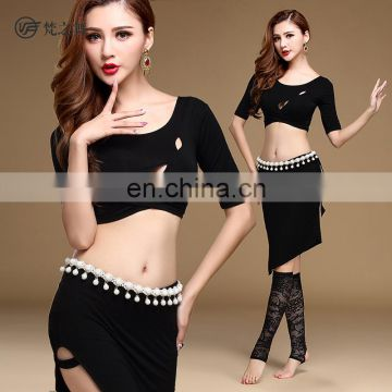 T-5134 Hot sexy lady bellydance costumes top and skirt set