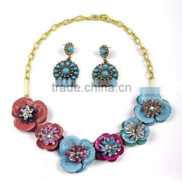 New flower alloy heavy necklace set jewelry set