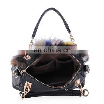 Fashion colorful lady tote bag real fox fur handbag for women wholesale