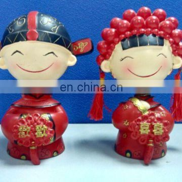 Chinese lovely wedding decoration resin doll