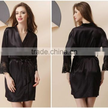 women sexy black satin Kimono women Lace lingerie household robe black rose bathrobe for sauna