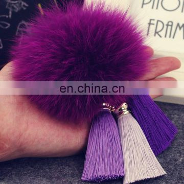 Latest style fox fur pompom pendant with tassel fur ball accessory