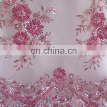 China suppliers handwork sequins bridal beaded mesh fabric/french embroidery lace fabric/french net lace 2016