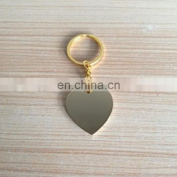 custom gold tone finish heart shape metal keychain for wedding giveaways