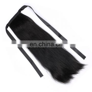 Wholesale Human Hair Long Straight Hair Pieces,Draw String Ponytail Hair Piece With Comb,Brazilian Ponytail Hair Piece