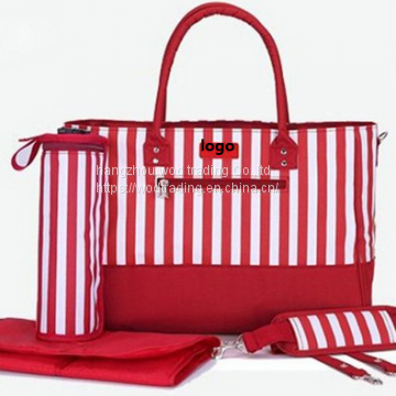 Stripe printed diaper bag with many pockets inside