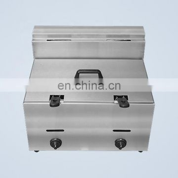 IS-GF-73 1 Tank 2 Basket Stainless Steel Fryer LPG Gas Fryer Counter Top Lifting Equipment to Buy