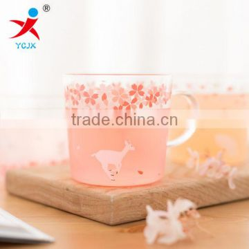 The animal glass cup Japanese cherry blossom offering original theme heat-resistant cup with handle