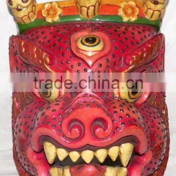 Hand Crafted Wooden Mask of Demon Wall Hanging Made In Nepal