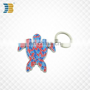 3D turtle shape custom painted metal keychain with keyring
