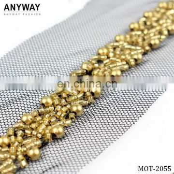 Guangzhou gold beaded bridal lace trim for wedding