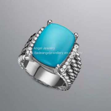 Women Jewelry DY Sterling 925 Silver Turquoise Wheaton Ring