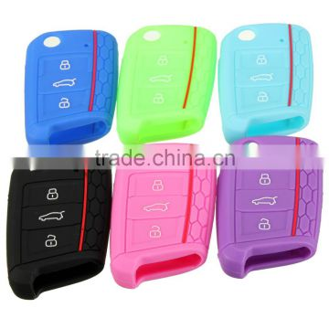 Audew 3 button Car Key Cover Silicone Protection Honeycomb 6 colours For VW / Golf MK7 2014 2015