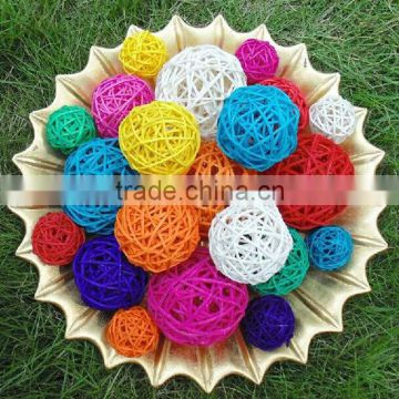 Colorful christmas wicker ball