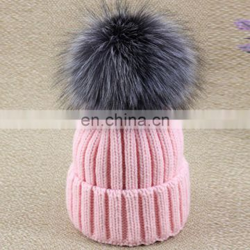 Striped pattern ladies knitted acrylic hats with big silver fox fur pompom