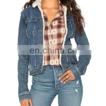 Sexy Girl Denim Back Belt Metal Button Clouse Winter Jackets and Coats with White Fur Lining