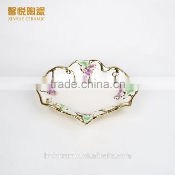 Stock plate and dish ,Fashion Golden Ceramic Decorative Cheap Big Ceramic Plate