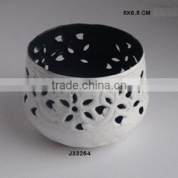 White and Blue colours Iron votive Round bowl shape