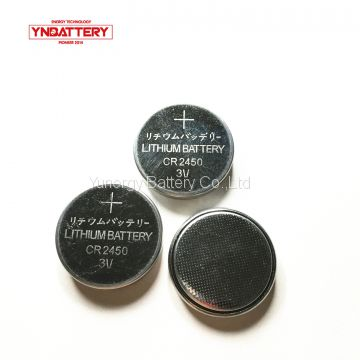 Coin battery CR2450 3v LiMnO2 lithium ion rechargeable button battery 1050mAh