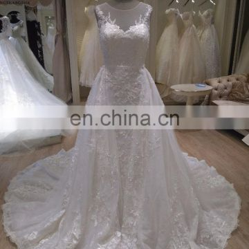 2017 new style detachable train wedding dress bridal gown