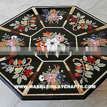 Octagonal Shape Marble Inlay Coffee Table Top
