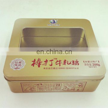 Mongolian sliced dried beef metal tin box with window