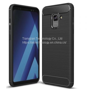 For Samsung Galaxy A8 2018 Case - Shockproof Carbon Fiber Soft TPU Hybrid Cover